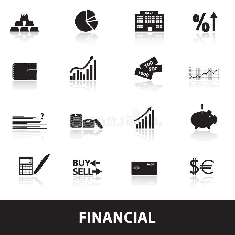 Ícones eps10 financeiros e do dinheiro ilustração royalty free
