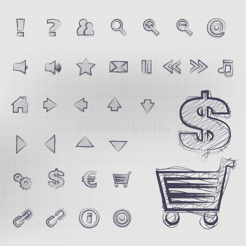 Ícones esboçados do vetor ilustração stock