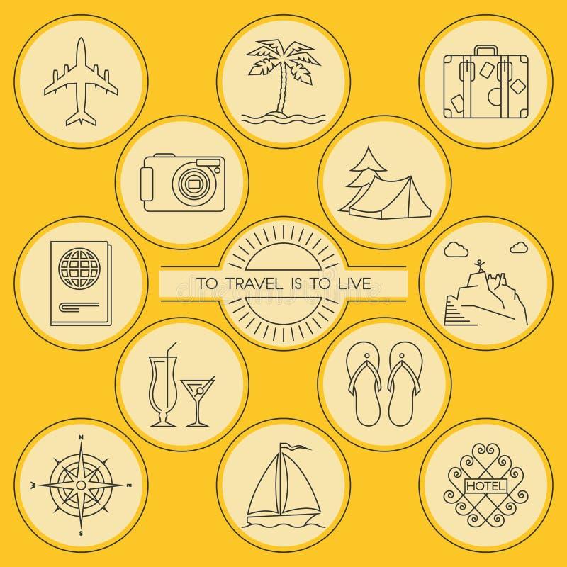 Ícones esboçados redondos do curso e do turismo ajustados ilustração royalty free
