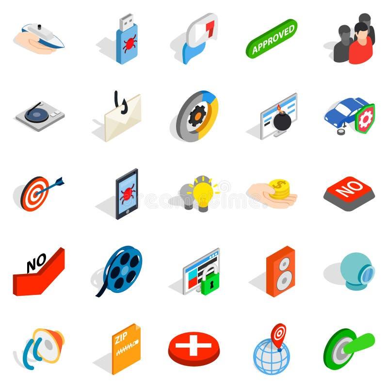 Ícones escondidos ajustados, estilo isométrico da informação ilustração royalty free