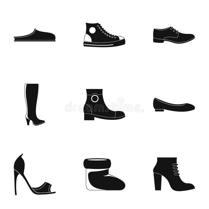 Ícones especiais ajustados, estilo simples dos calçados ilustração stock