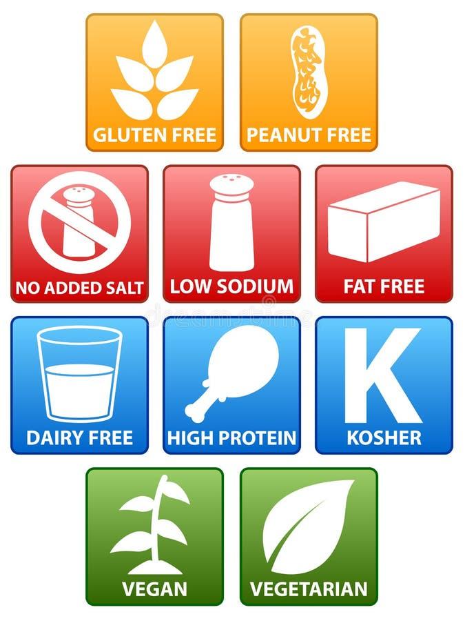 Ícones especiais da dieta ilustração stock