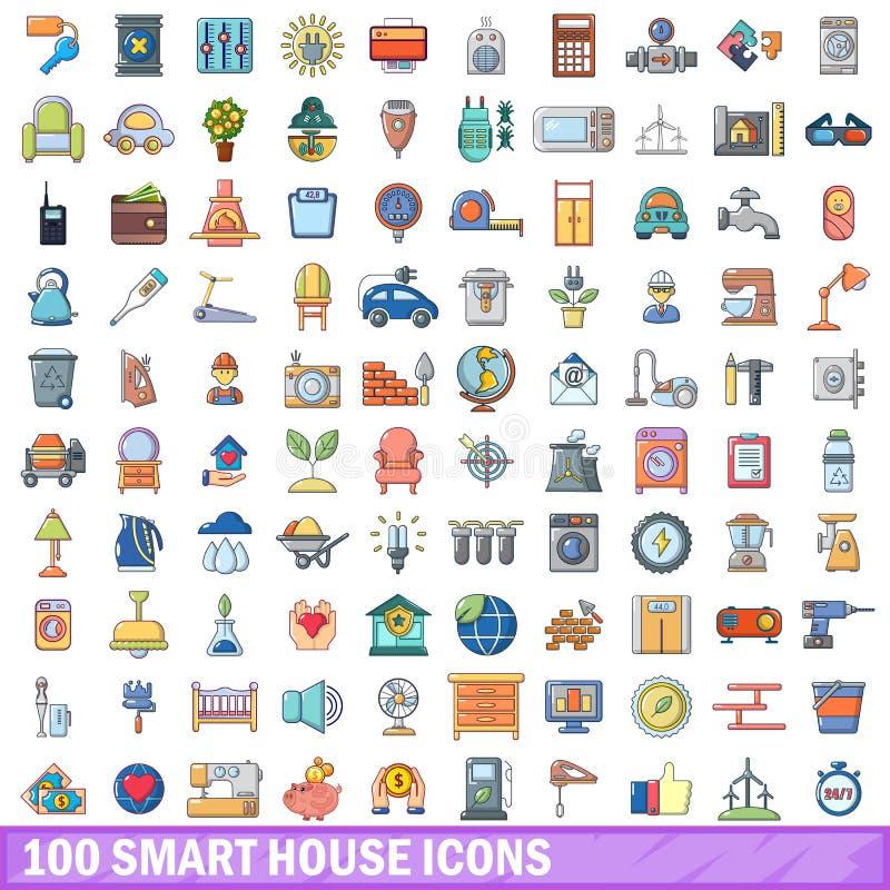 100 ícones espertos ajustados, estilo da casa dos desenhos animados ilustração stock