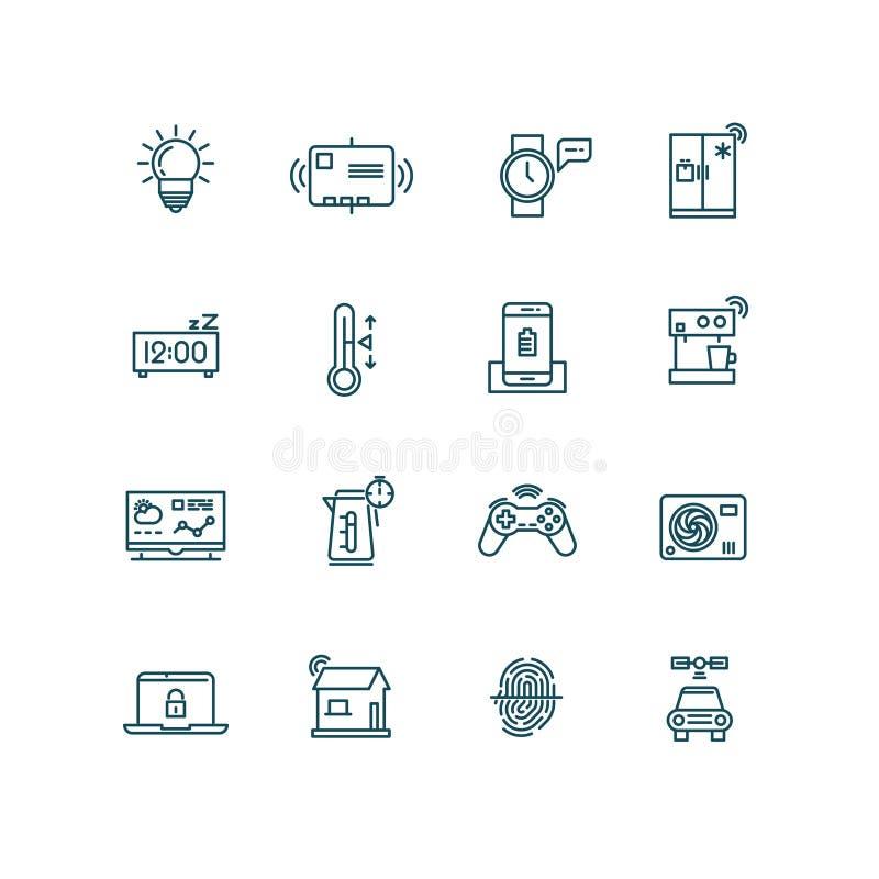 Ícones espertos da casa Símbolos dos sistemas de controlo da domótica para o Internet do conceito das coisas ilustração royalty free