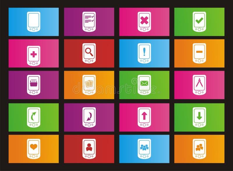 Ícones espertos do estilo do metro do telefone ilustração do vetor