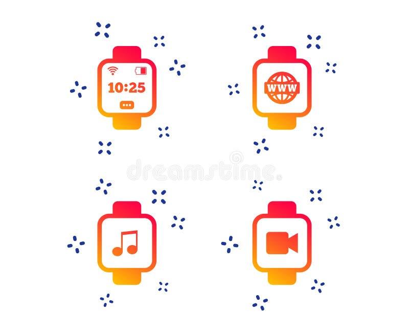 ícones espertos do relógio Relógio de ponto digital do pulso Vetor ilustração royalty free