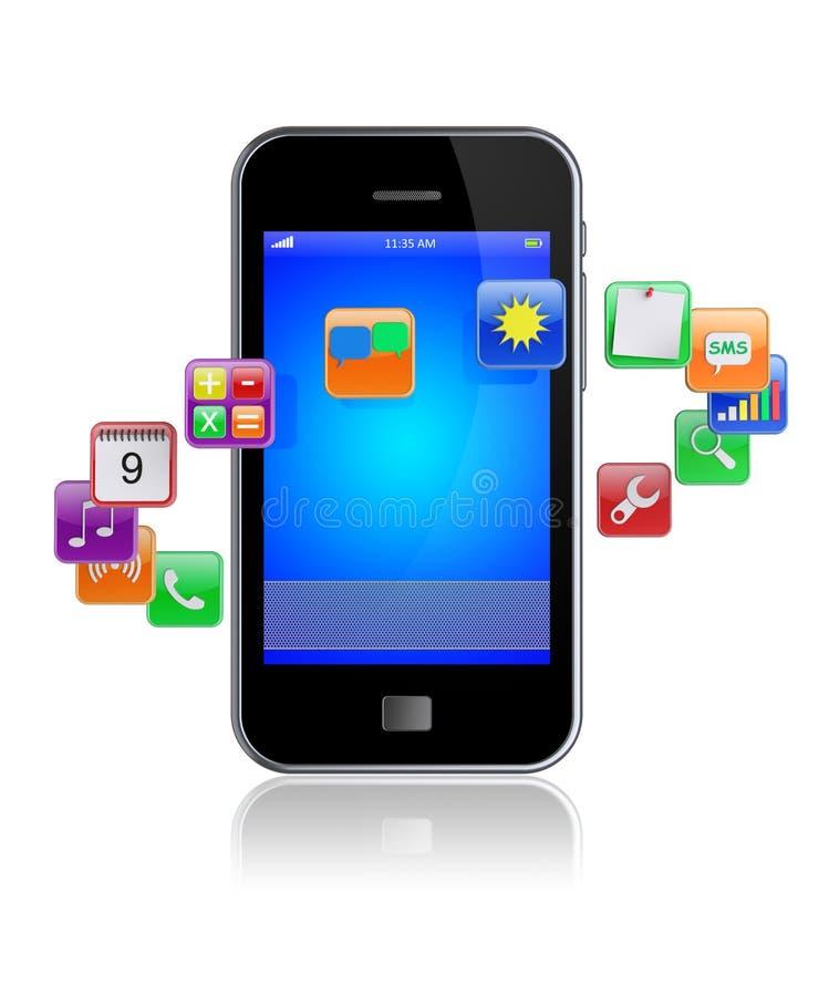 Ícones espertos dos apps do telefone ilustração royalty free
