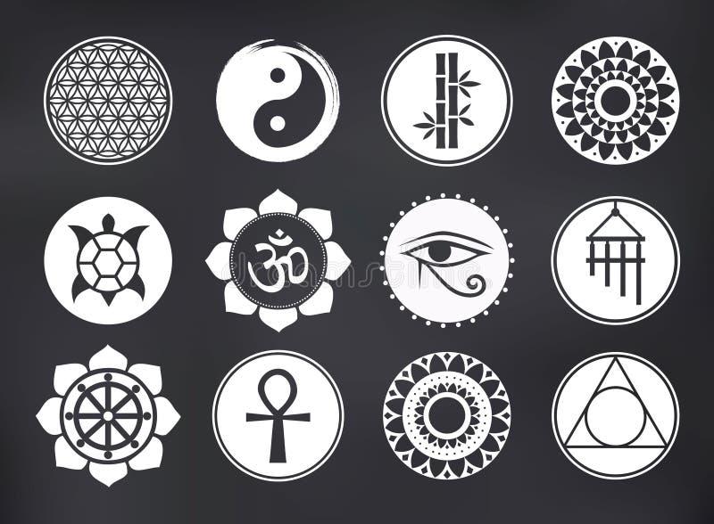 Ícones espirituais do vetor ajustados no quadro-negro ilustração stock