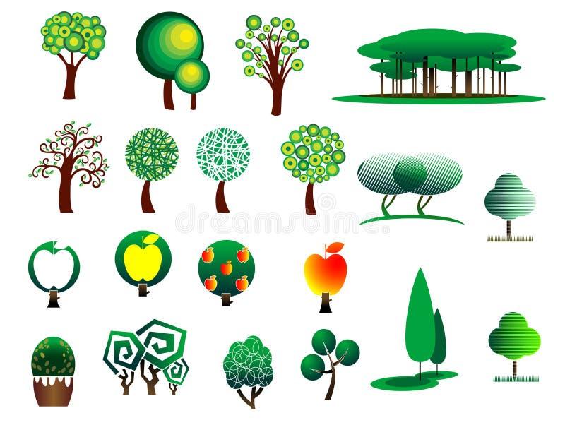 Ícones estilizados da árvore do sumário ilustração do vetor