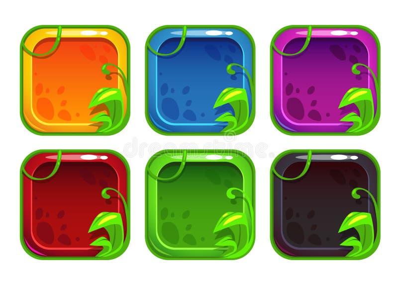 Ícones estilizados do app dos desenhos animados com elementos da natureza ilustração do vetor