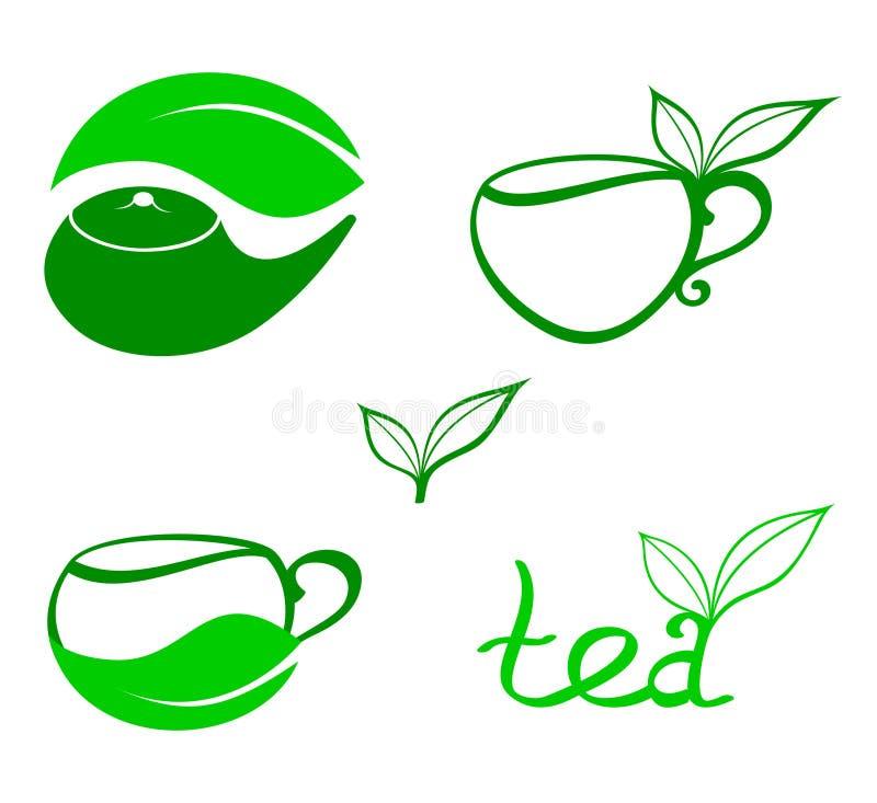 Ícones estilizados do chá ilustração do vetor