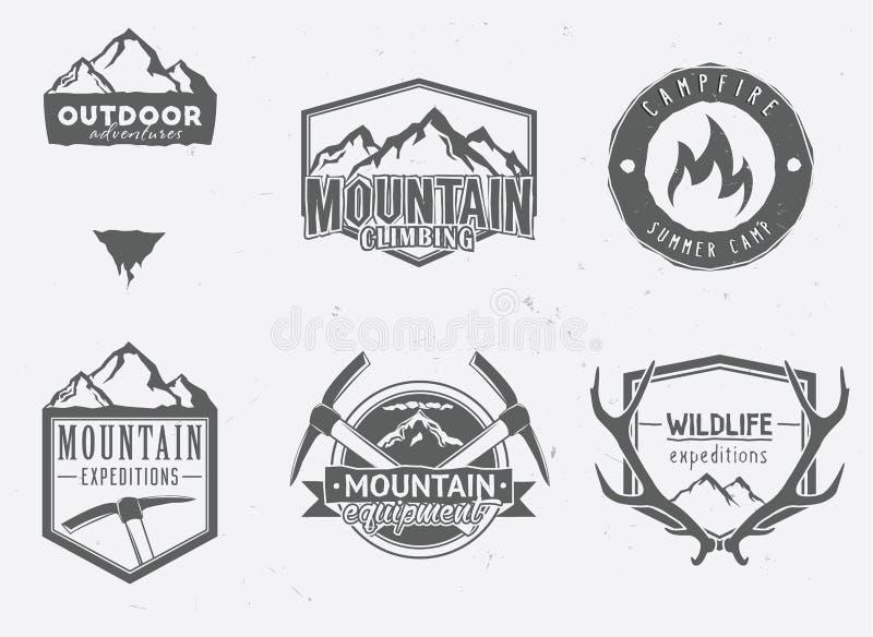 Ícones exteriores das aventuras ilustração stock