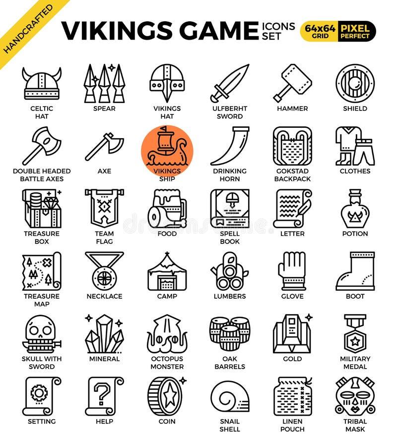 Ícones extravagantes do jogo de viquingues ilustração do vetor