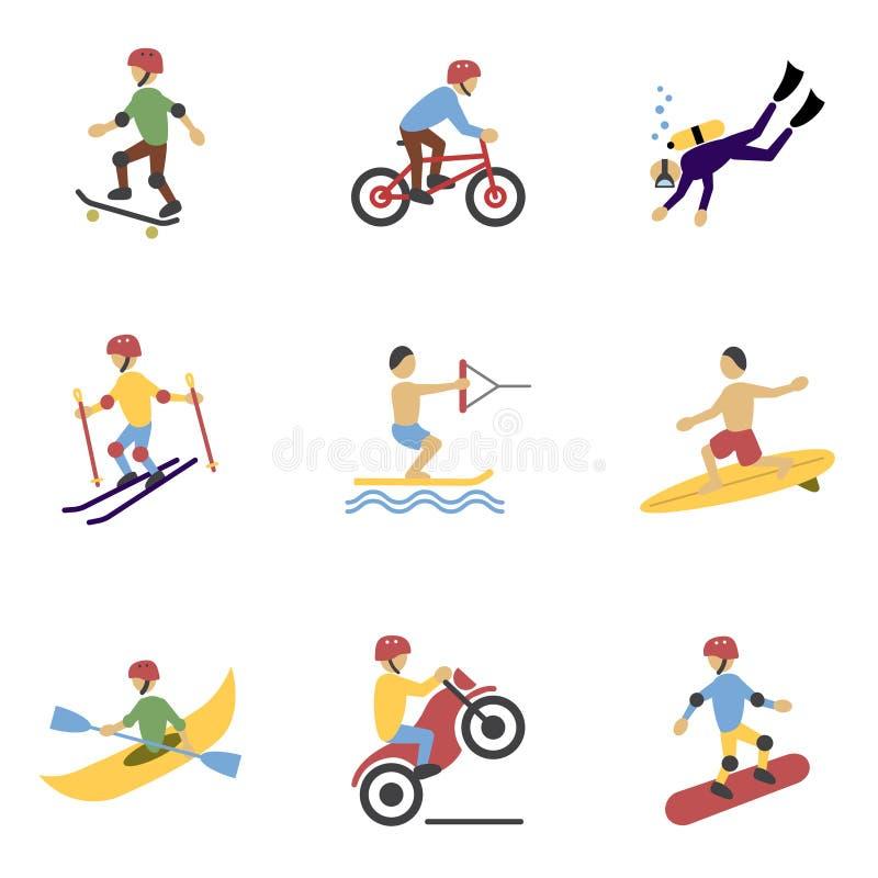 Ícones extremos dos esportes ajustados ilustração stock