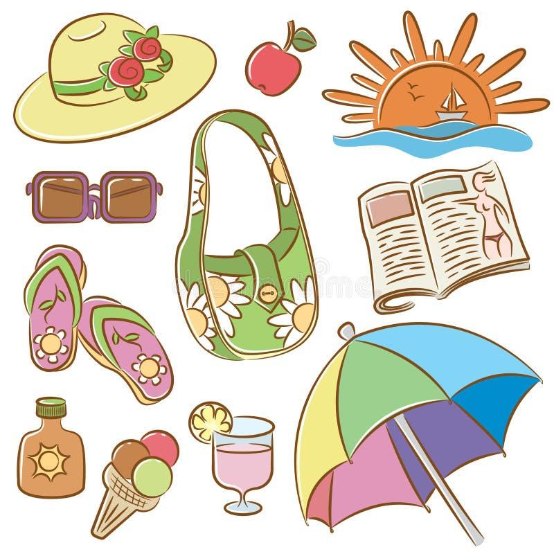Ícones fêmeas das férias do verão ajustados ilustração stock
