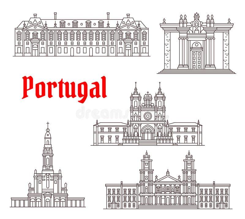 Ícones famosos do vetor do marco da arquitetura de Portugal ilustração royalty free