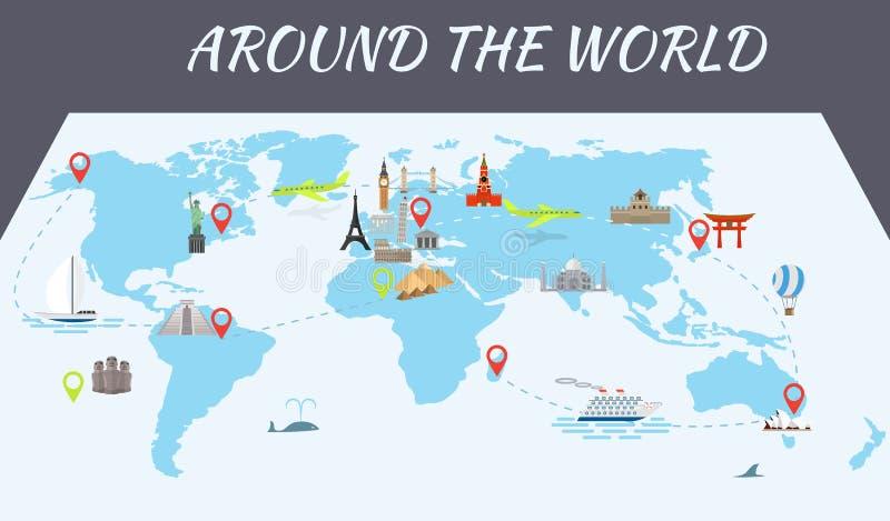 Ícones famosos dos marcos do mundo no mapa ilustração royalty free