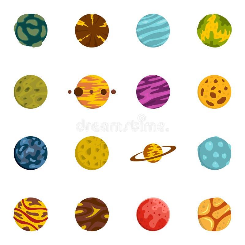 Ícones fantásticos dos planetas ajustados no estilo liso ilustração royalty free