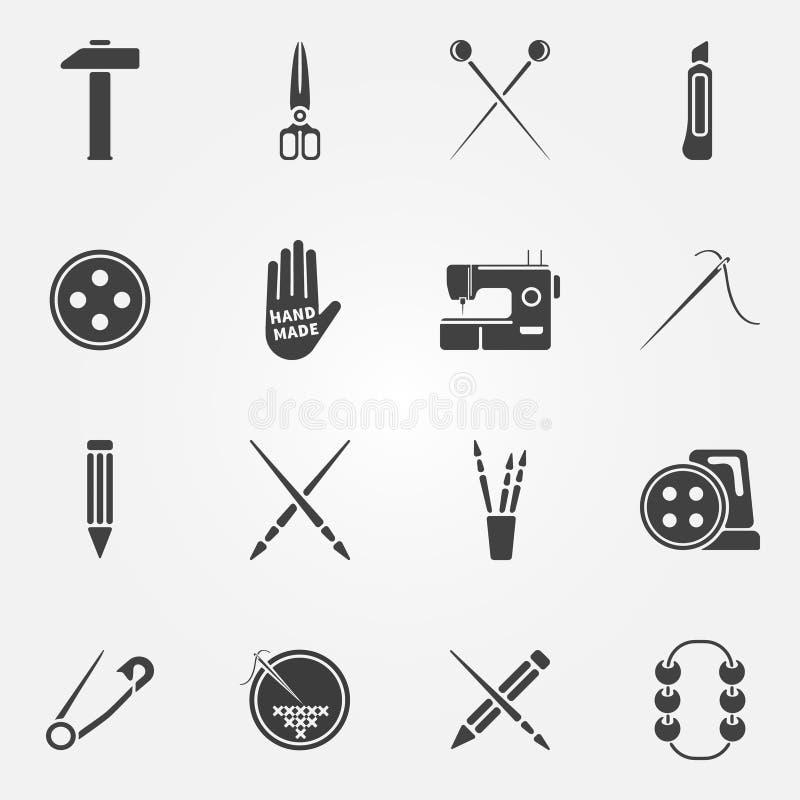 Ícones feitos à mão do vetor ajustados ilustração stock