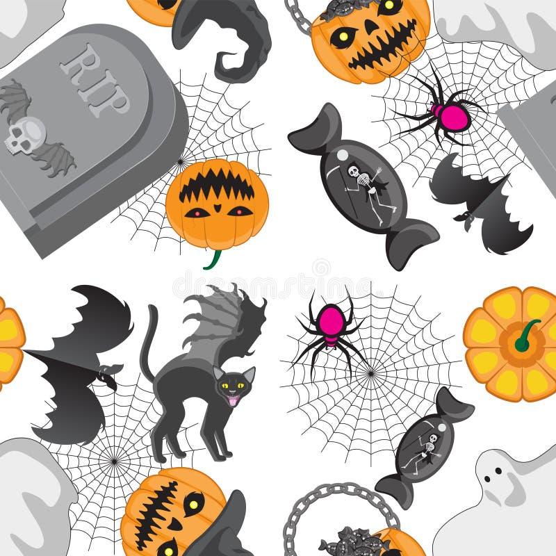 Ícones felizes do Dia das Bruxas do teste padrão sem emenda isolados no fundo branco Ilustra??o ilustração stock