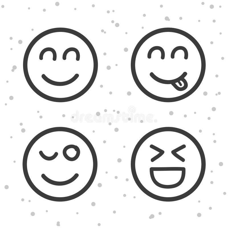 Ícones felizes do smiley Símbolos de riso dos emoticons ilustração royalty free