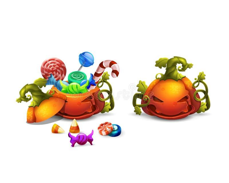 Ícones felizes dos doces e dos doces de Dia das Bruxas na abóbora Truque ou truque! ilustração stock
