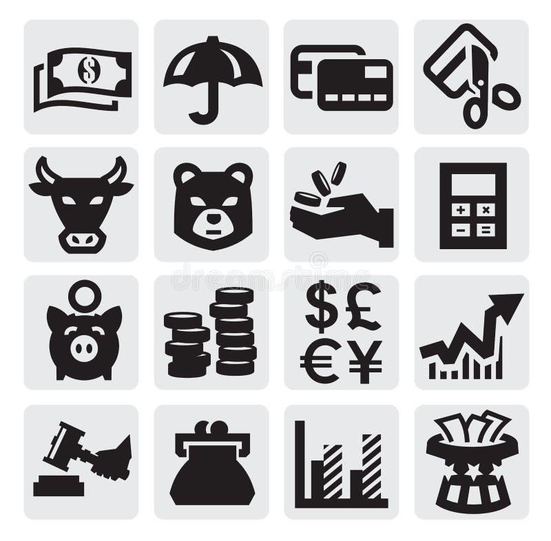 Ícones financeiros ilustração royalty free