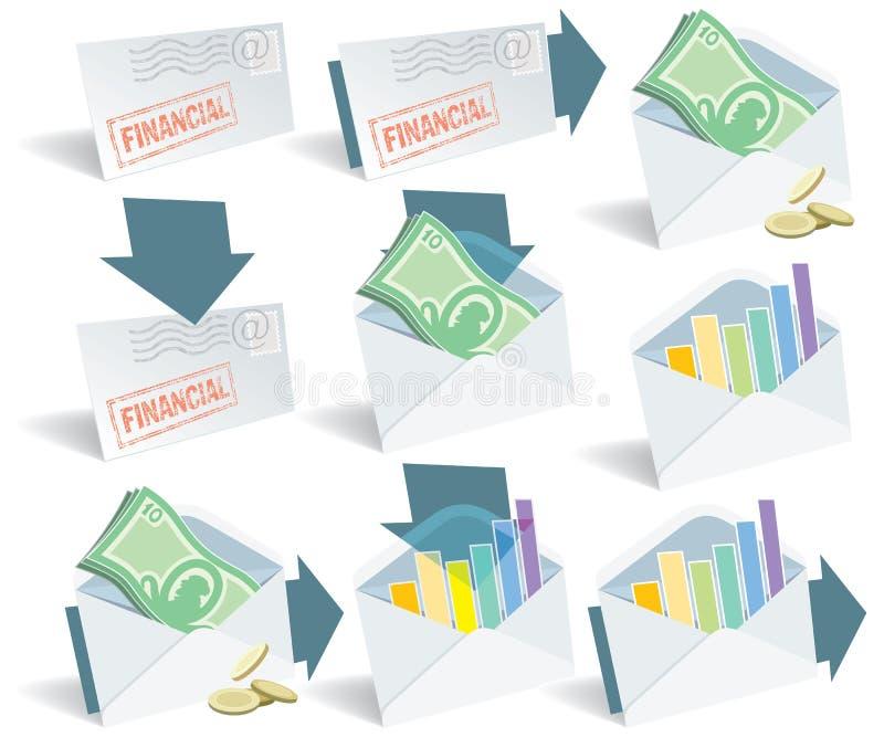 Ícones financeiros do email ilustração do vetor