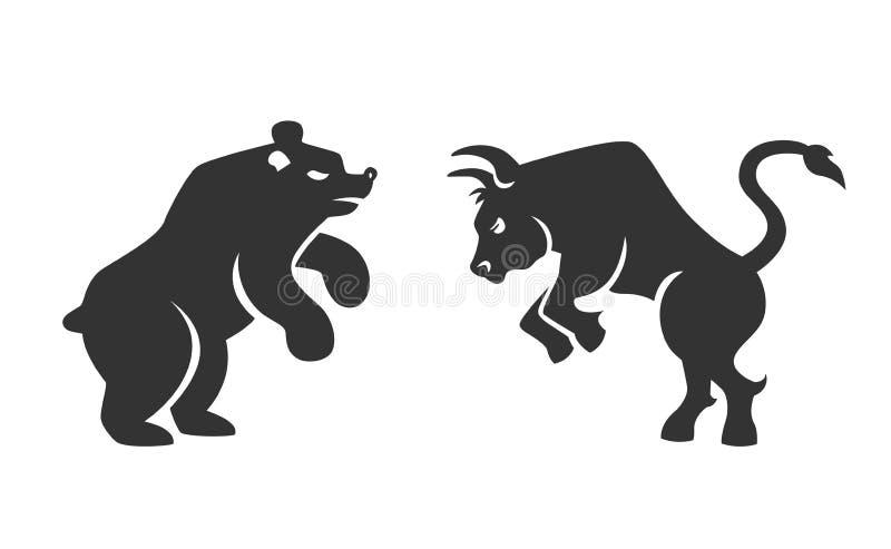 Ícones financeiros do touro e do urso do vetor ilustração stock