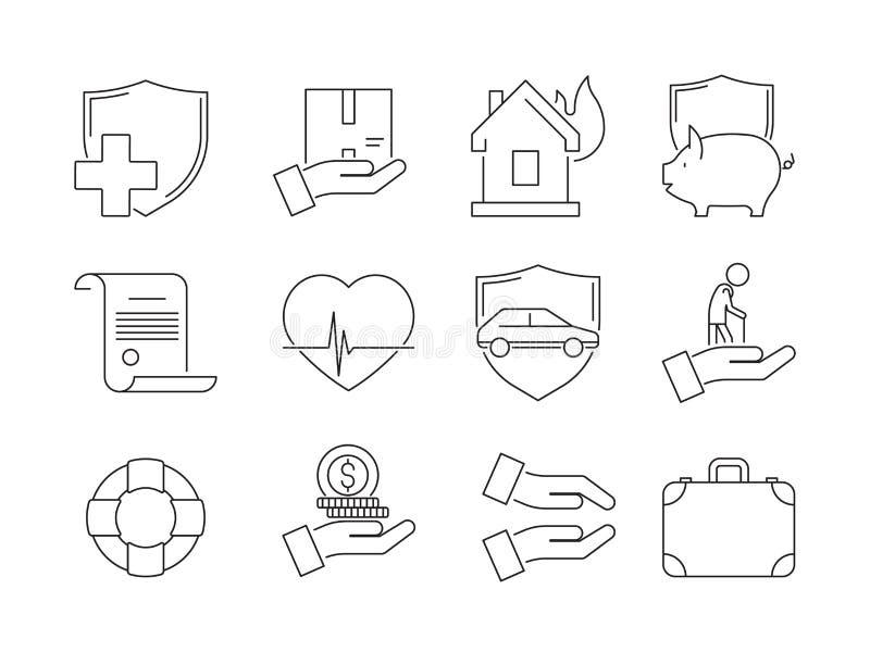 Ícones finos do seguro Queda da proteção do negócio a auto danificou símbolos assegurados do vetor do seguro de vida do guarda-ch ilustração stock