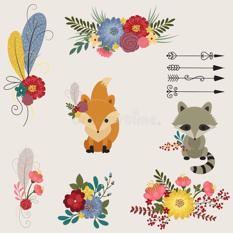 Ícones florais e dos animais ilustração royalty free