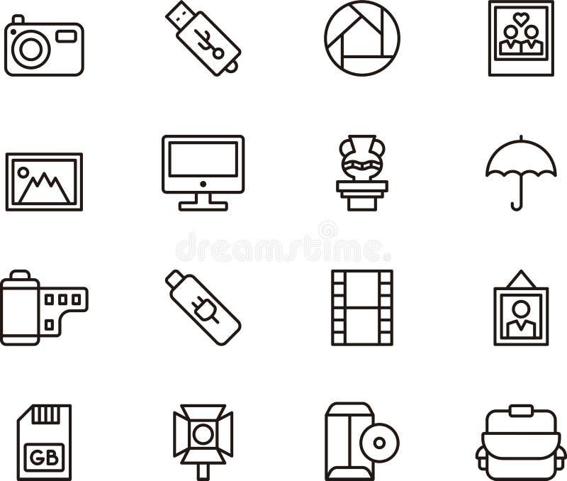 Ícones fotográficos ilustração stock