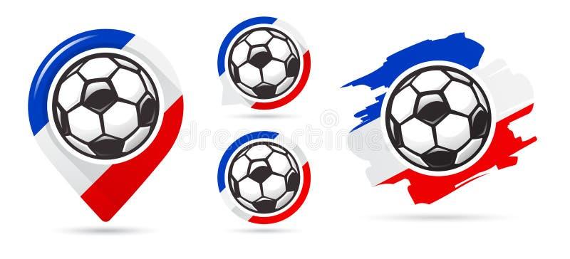 Ícones franceses do vetor do futebol Objetivo do futebol Grupo de ícones do futebol Ponteiro do mapa do futebol Requisito do fute ilustração stock