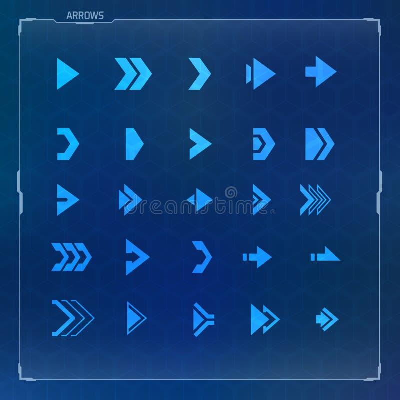 Ícones futuristas da seta do projeto da ficção científica ajustados imagem de stock
