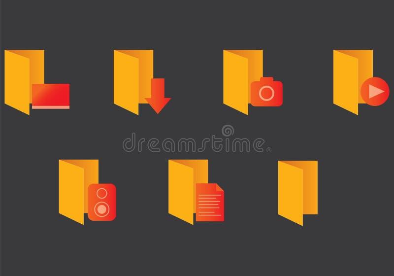 Ícones gerais do dobrador de Windows ilustração royalty free