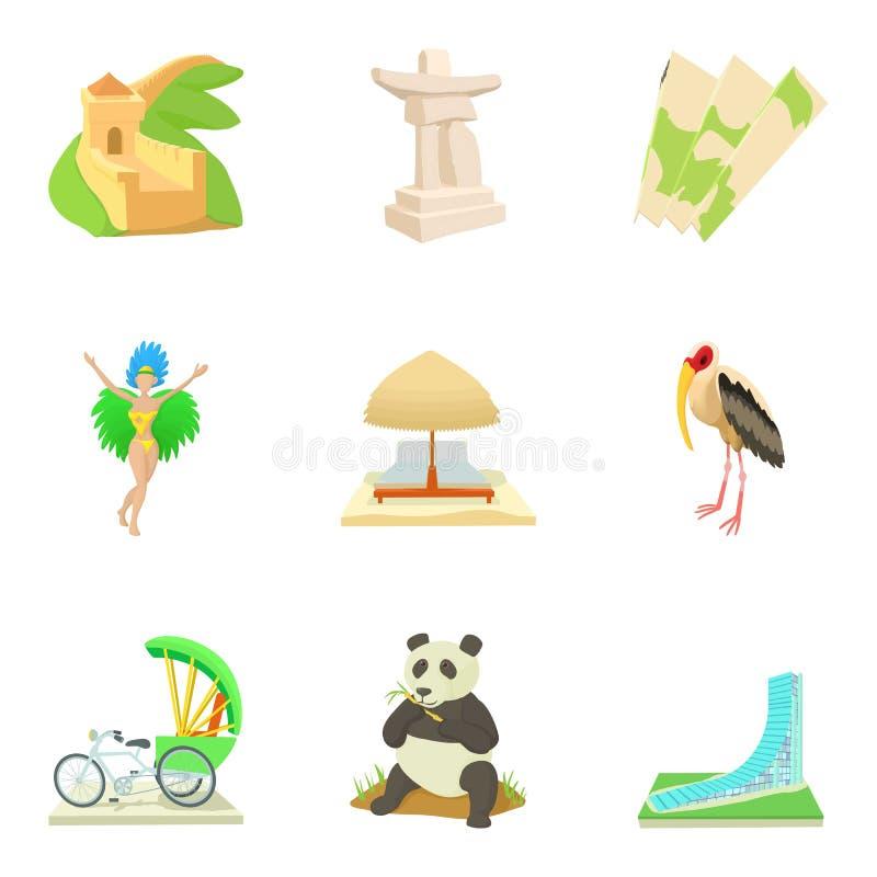 Ícones globais ajustados, estilo do entretenimento dos desenhos animados ilustração royalty free