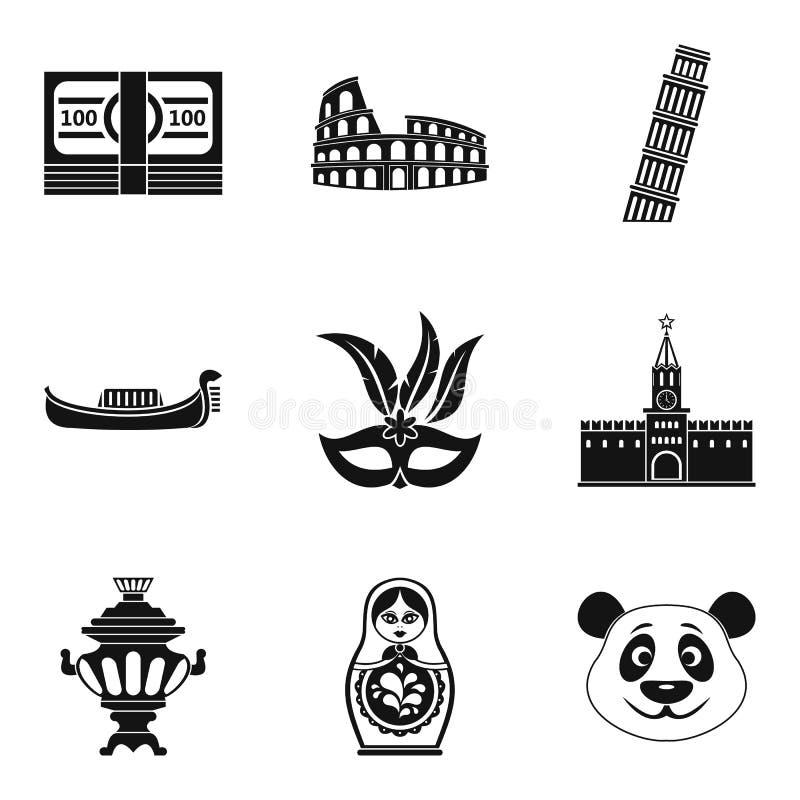 Ícones globais ajustados, estilo simples da maneira ilustração do vetor