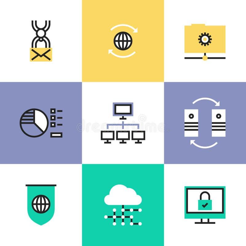 Ícones globais do pictograma da tecnologia dos dados ajustados ilustração royalty free