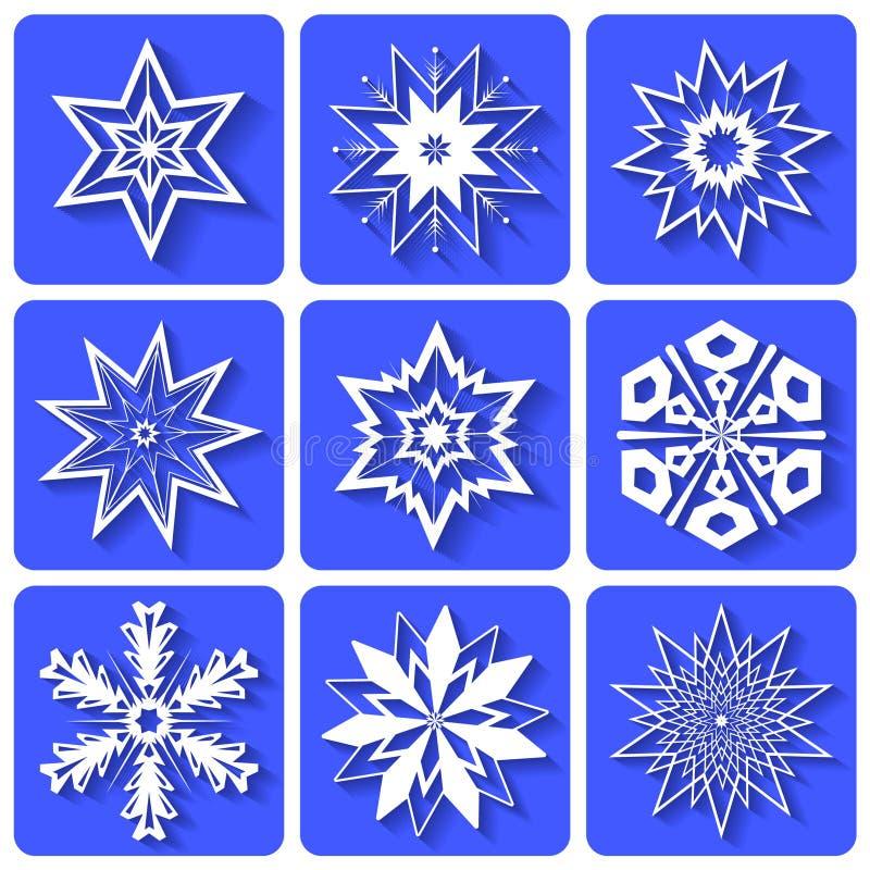 Ícones gráficos Cristais brancos dos flocos de neve   ilustração do vetor