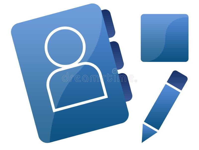 Ícones/gráficos sociais azuis da coligação ilustração stock