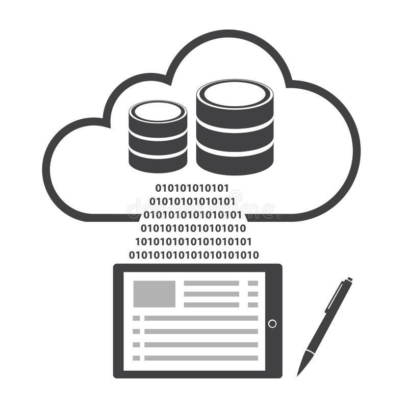 Ícones grandes ajustados, computação dos dados da nuvem ilustração do vetor