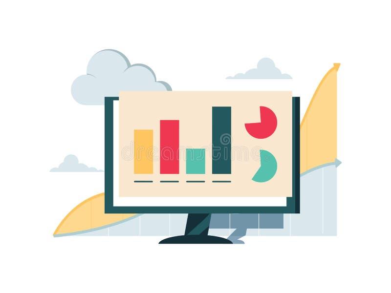 Ícones grandes da série de dados Aplicação da análise com bigdata Informação da Web com gráficos e infographic ilustração stock