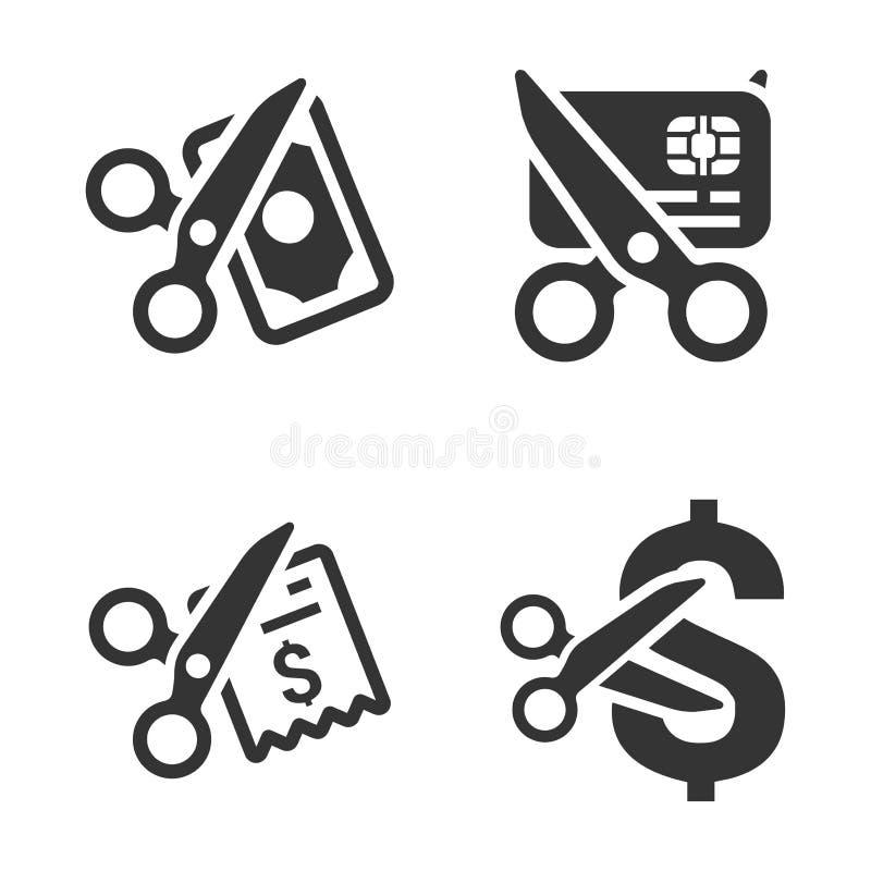 Ícones Gray Version da redução de gastos ilustração royalty free