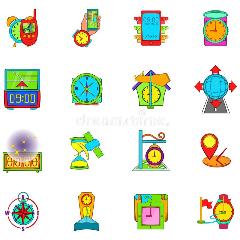 Ícones grupo da navegação do tempo, estilo dos desenhos animados ilustração stock