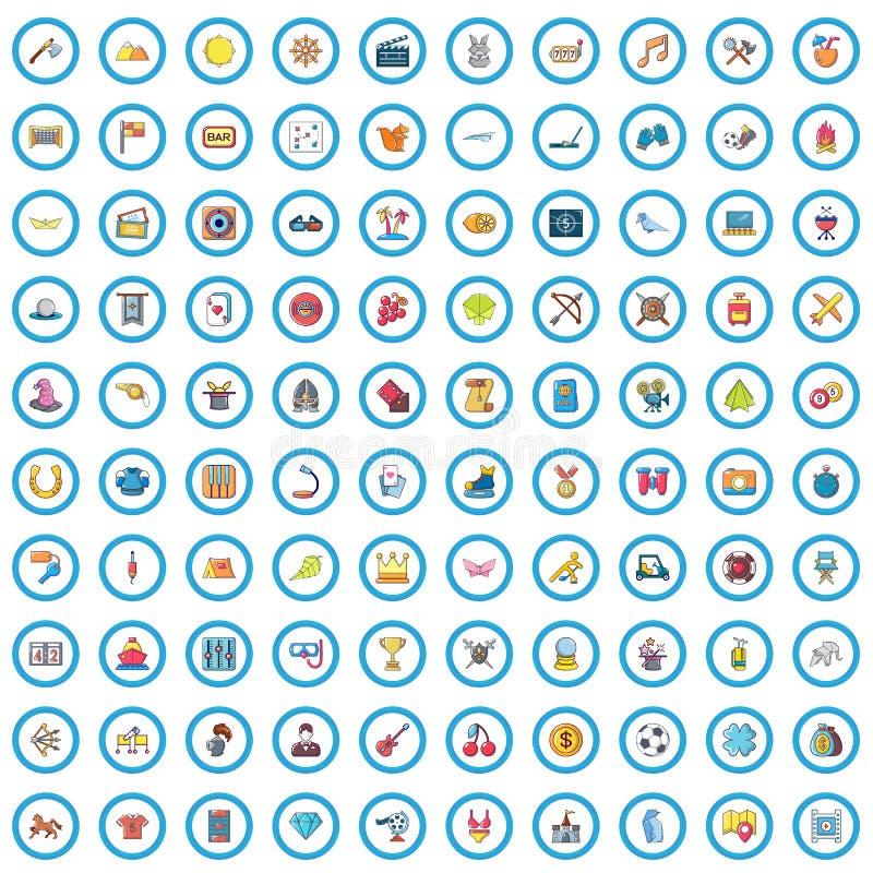 100 ícones grupo da paixão, estilo dos desenhos animados ilustração stock