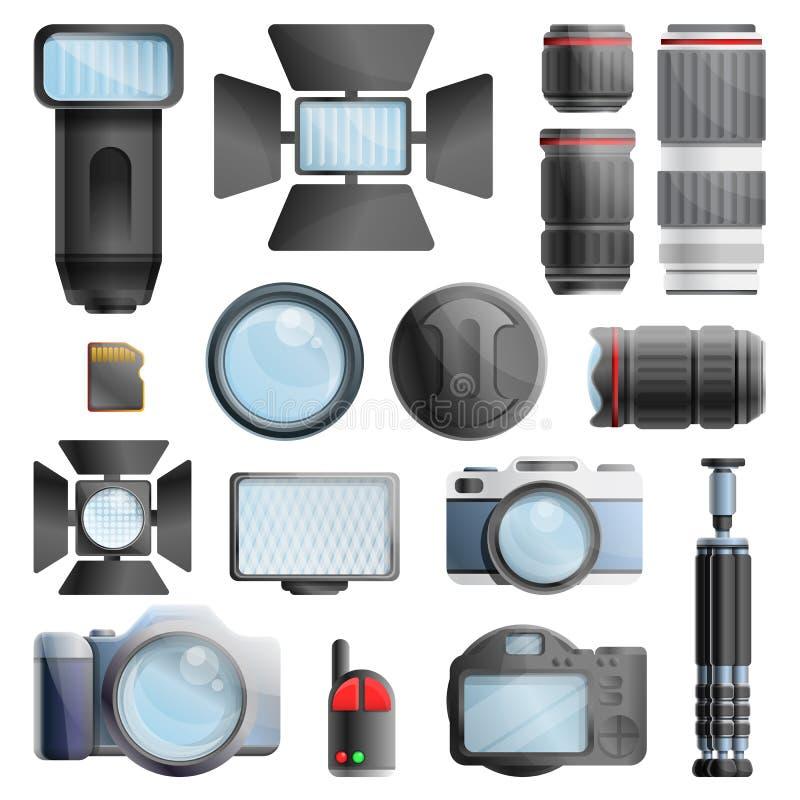 Ícones grupo do equipamento do fotógrafo, estilo dos desenhos animados ilustração do vetor