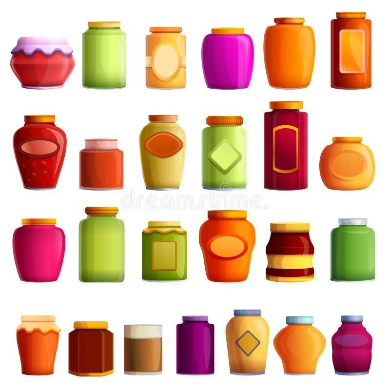 Ícones grupo do frasco do doce, estilo dos desenhos animados ilustração royalty free