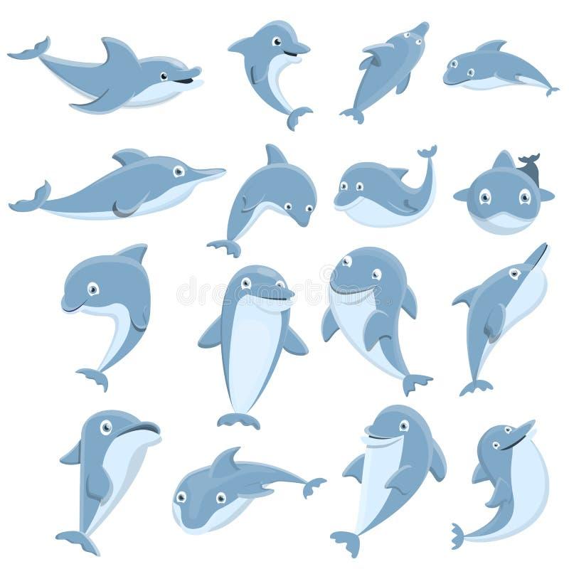 Ícones grupo do golfinho, estilo dos desenhos animados ilustração stock