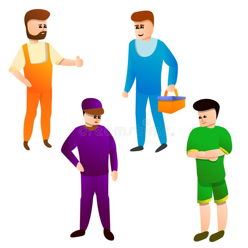 Ícones grupo do serralheiro, estilo dos desenhos animados ilustração stock