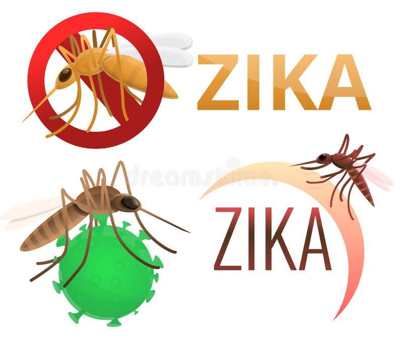 Ícones grupo do vírus de Zika, estilo dos desenhos animados ilustração do vetor